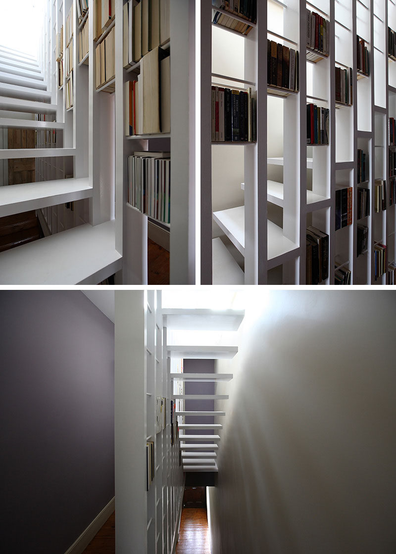 9 Stylish Staircases With Bookshelves As Safety Rails // This book/stair case connects a bedroom and a study in a London home.