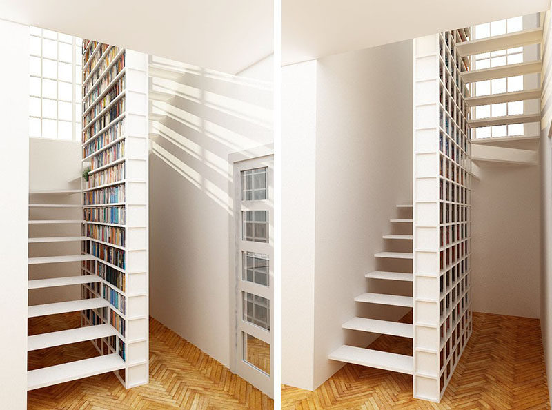 9 Stylish Staircases With Bookshelves As Safety Rails // This bookshelf provides plenty of space for storing books and keeps the stairs contemporary.