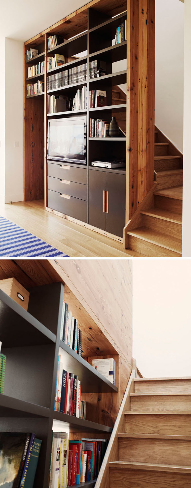 9 Stylish Staircases With Bookshelves As Safety Rails // This open bookshelf adds an element of safety to the stairs, and acts as an entertainment unit.