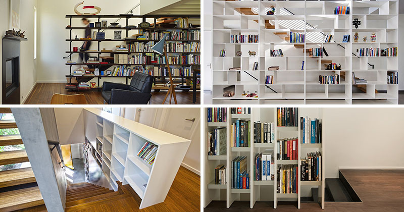 9 Stylish Staircases With Bookshelves As Safety Barriers | CONTEMPORIST