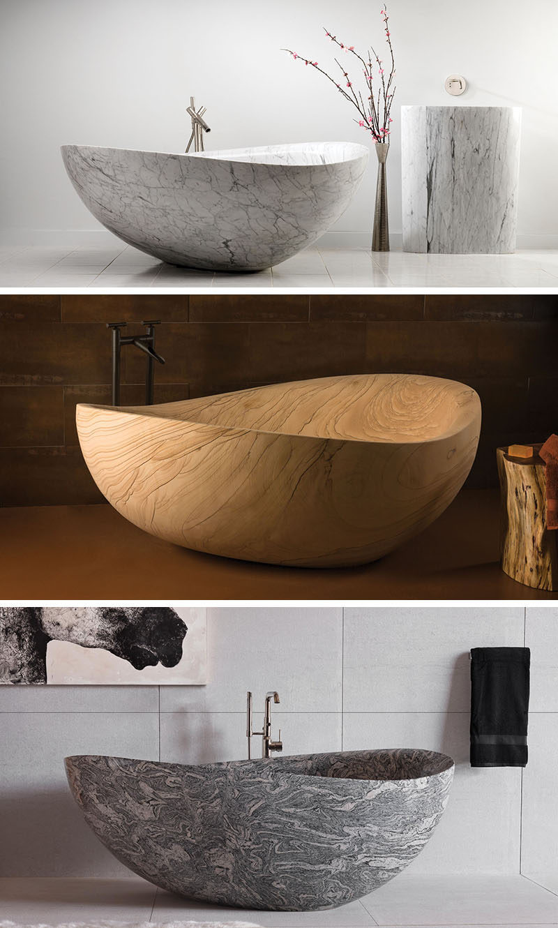 8 Stunning Examples Of Stone Bathtubs // The Papillon Bathtub in Marble, Sandstone and Granite by Stone Forest.