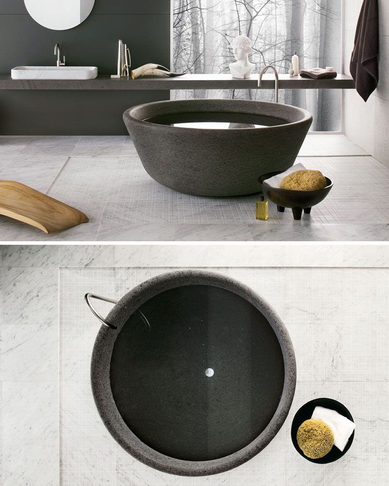 8 Stunning Examples Of Stone Bathtubs // The SPA bathtub designed by nespoli e novara for Neutra Design, is available in a wide range of stone types from moonstone to granite, each one unique from the others.