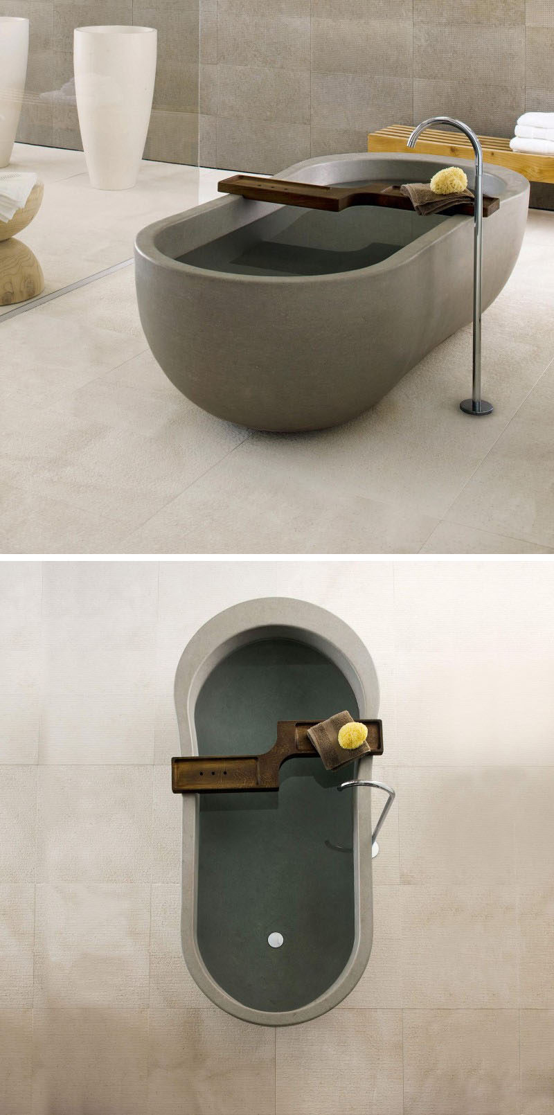 8 Stunning Examples Of Stone Bathtubs // The curvaceous ALONE tub from Neutra Design, is created from a single block of stone using state-of-the-art technologies