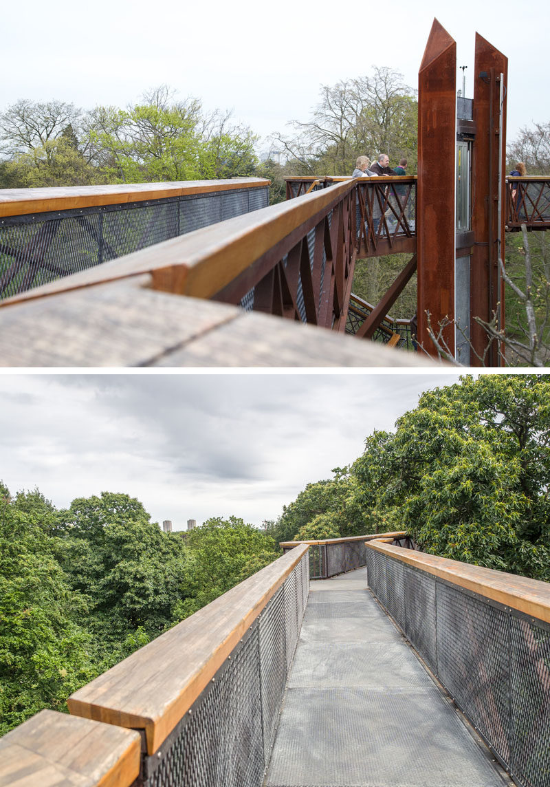 11 Tree Top Walks For Lovers Of Nature // Designed by Marks Barfield Architects, the 18-metre high, 200-metre Kew Treetop Walkway takes you through the Royal Botanic Gardens in Kew, England.
