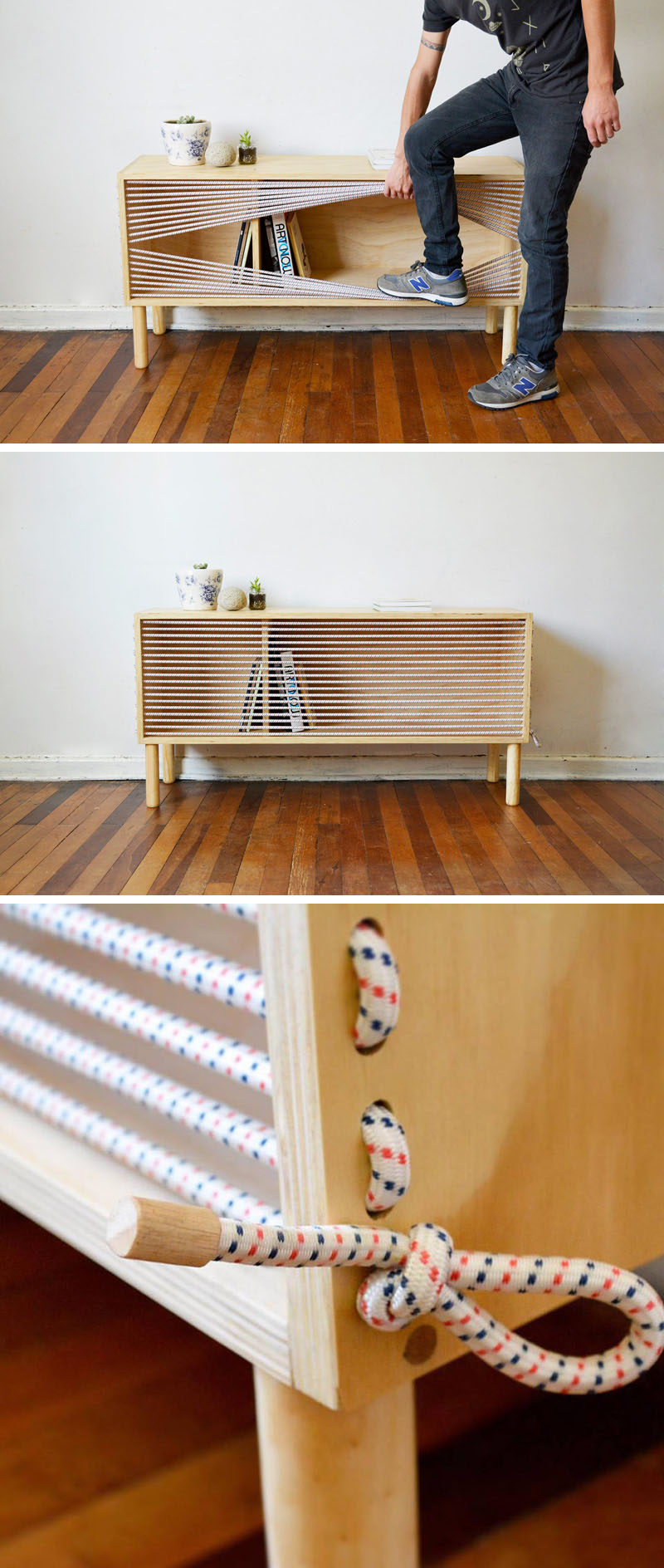 This Wooden Sideboard Was Inspired By The Ropes Of A Boxing Ring.
