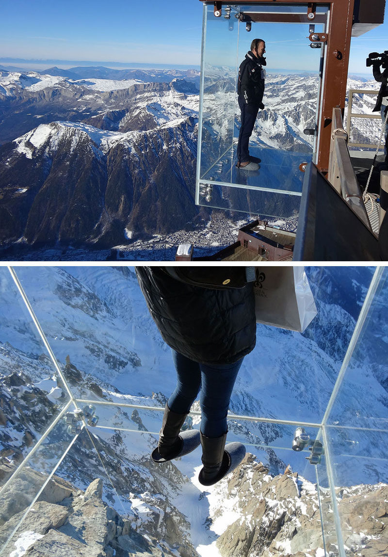 17 Tourist Activities That Would Be A Nightmare For People With A Fear Of Heights // Step into the Void at The Aiguille du Midi Skywalk - French Alps, France