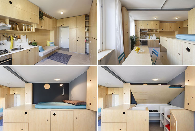 This small apartment is filled with creative ideas to for Small studio apartment space
