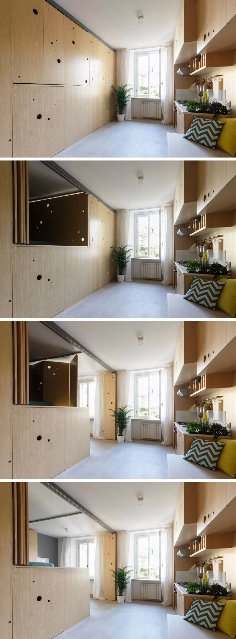 This tiny apartment has a wall that opens up to reveal the bedroom and dining room.