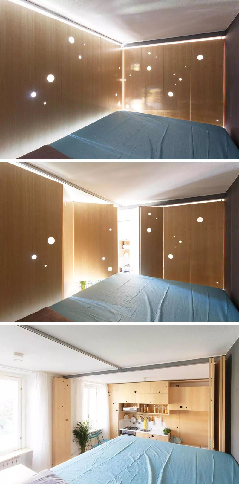 This tiny apartment can close off the bedroom when needed.