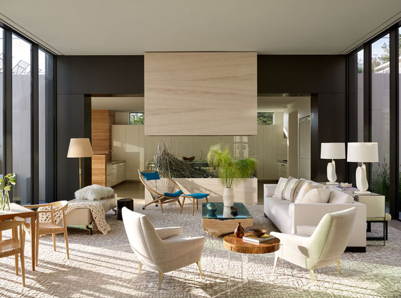 The interior design of this home uses lots of light, natural colors.