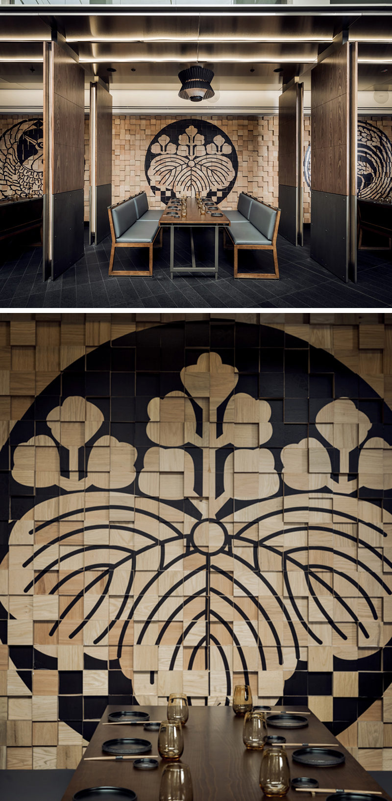 wall decor idea - murals on painted wood blocks | contemporist