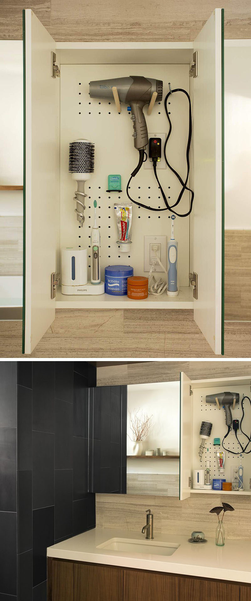 7 Bathroom Storage Ideas For Hair Tools // Pegboard Cabinetry