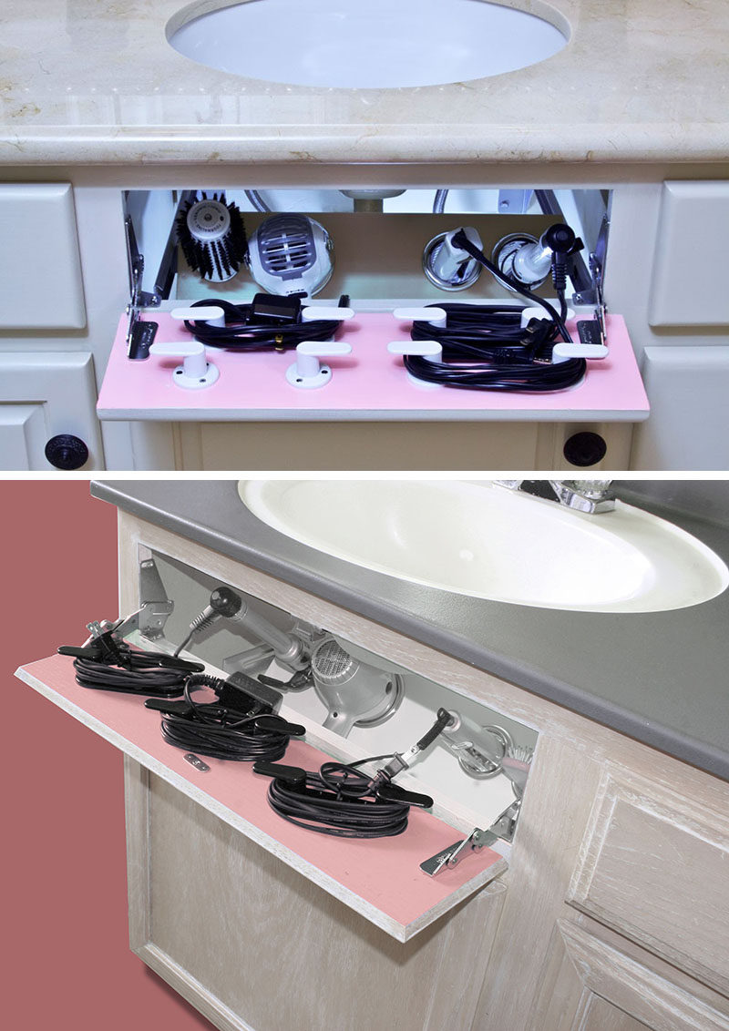 7 Bathroom Storage Ideas For Hair Tools //