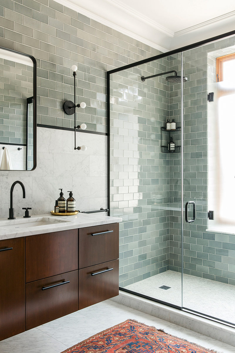 Bathroom Inspiration - Green Tile, Dark Wood, Marble, Black Frames ...