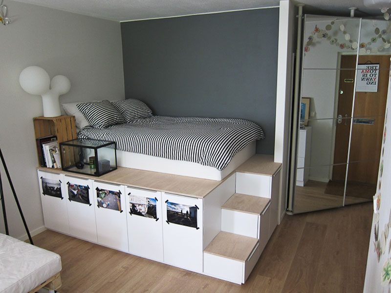 ... See how this platform storage bed was made from IKEA kitchen cabinets