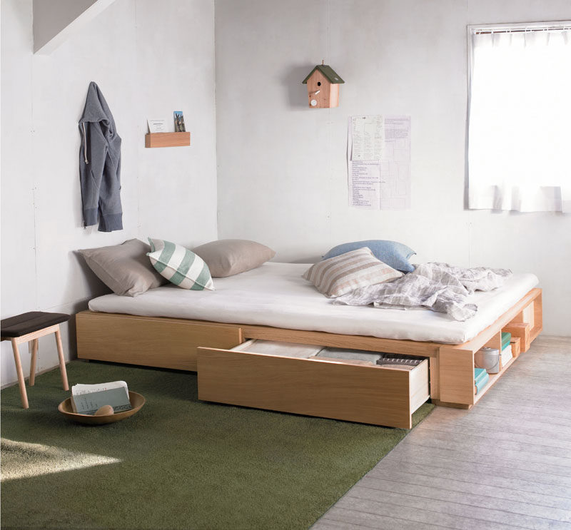 9 Ideas For Under-The-Bed Storage // The drawers of this storage bed come right to the top of the frame making them seem to disappear right into the bed, creating truly invisible storage.
