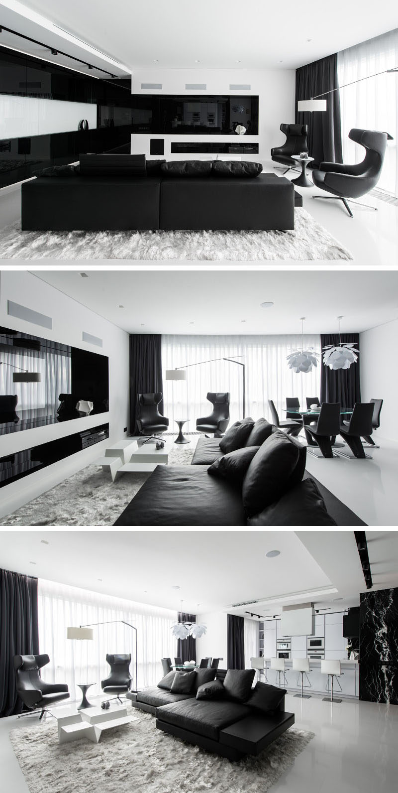 This Apartment Has An Almost Entirely Black And White Interior ...