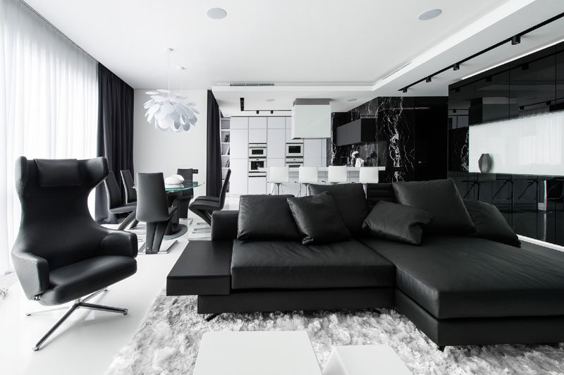 This Apartment Has An Almost Entirely Black And White Interior