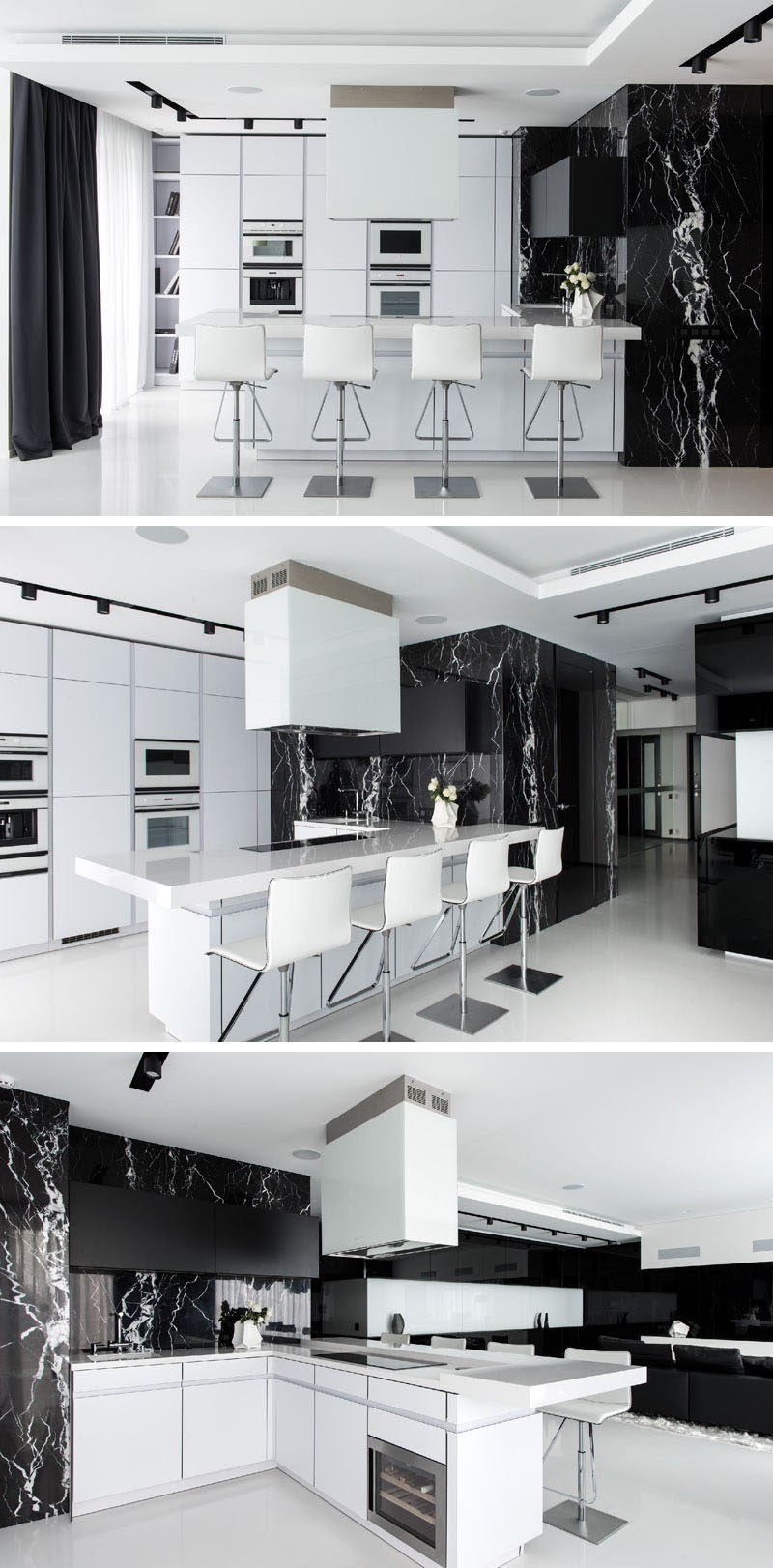 In this black and white apartment, the kitchen is mostly white, with a natural black marble and black curtains used to continue the black and white theme.
