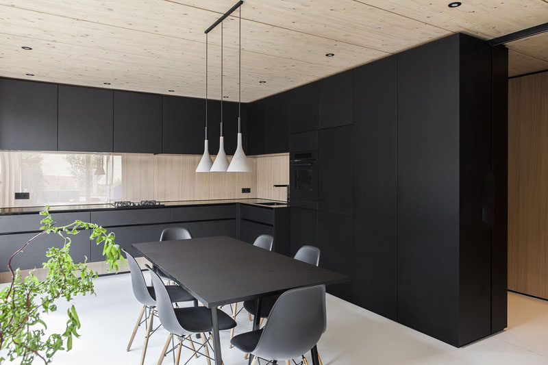 Installing all black cabinetry is a bold way to bring black into your kitchen. #BlackKitchen #KitchenDesign #BlackCabinets