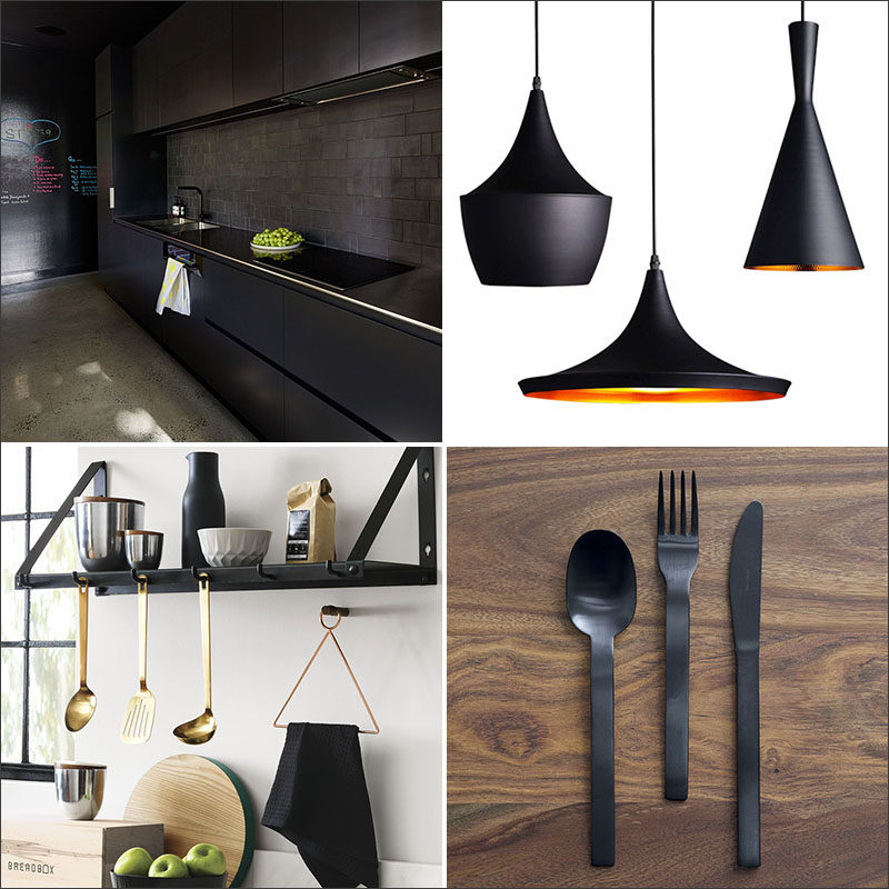 Black is an increasingly popular color were seeing in kitchens. All black kitchens make a bold statement, but you don't have to go that far. Here are 11 examples of ways you can bring black into the kitchen either subtly or boldly. #KitchenDesign #BlackKitchen