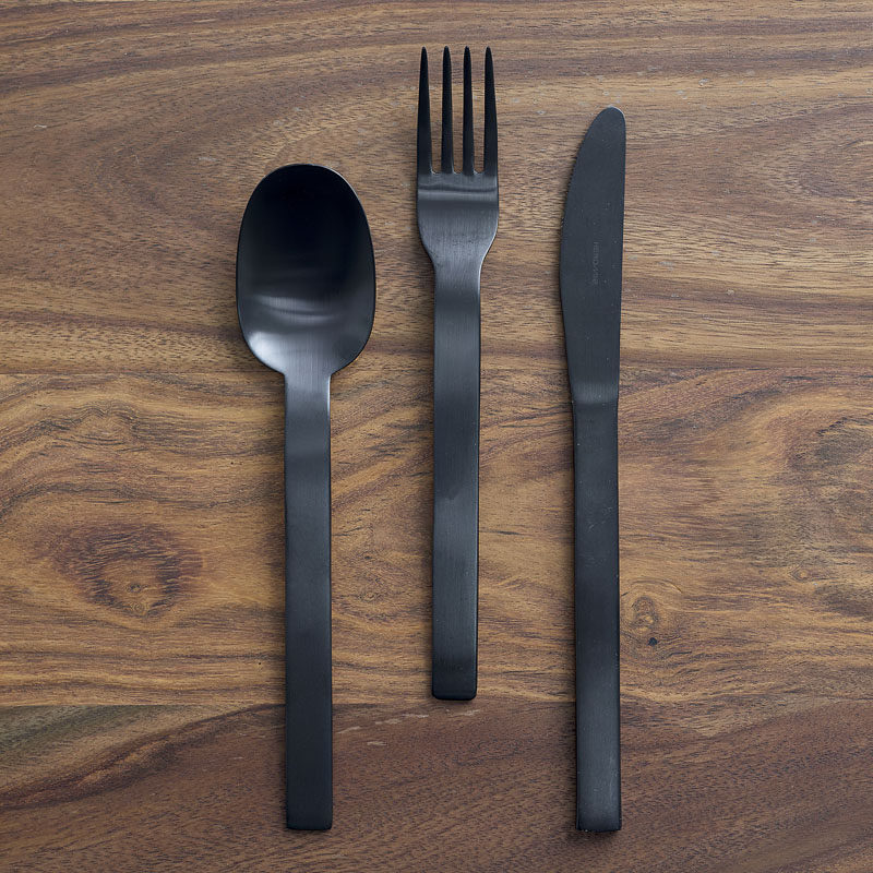 Black kitchens require black flatware. Bonus points if it's matte. #BlackCutlery #BlackFlatware #BlackKitchen