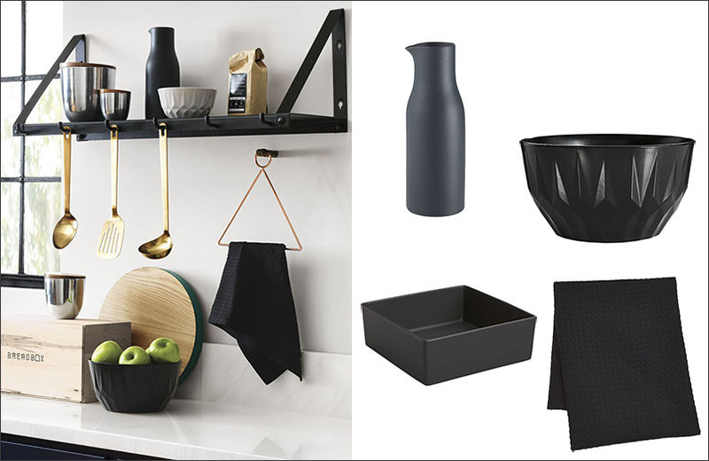 Black accents like shelving, hand towels, pitchers, and large bowls are easy ways to bring black into the kitchen. #BlackKitchen #BlackKitchenAccessories #BlackShelf