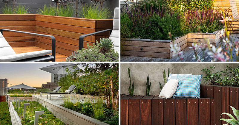 12 Ideas For Including Built-In Wooden Planters In Your Outdoor Space #WoodPlanters #BuiltInPlanters #Landscaping #LandscapeDesign #BackyardPlanters #YardIdeas