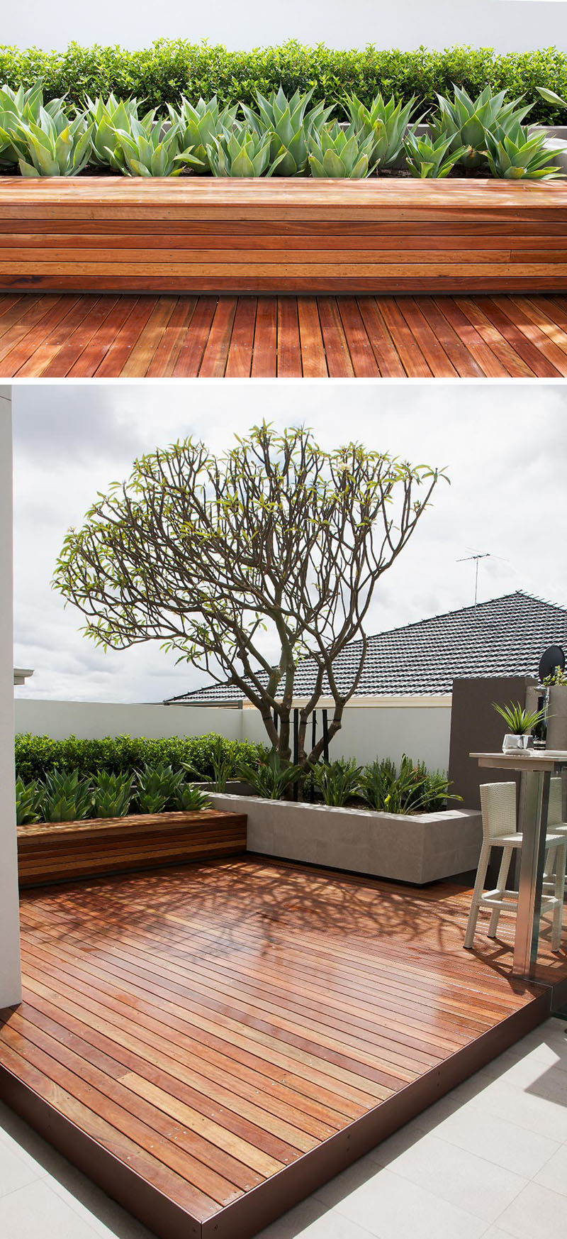 12 Ideas For Including Built-In Wooden Planters In Your Outdoor Space // These wood planters are made from the same wood as the rest of the deck in this backyard and make the space feel warm and inviting.