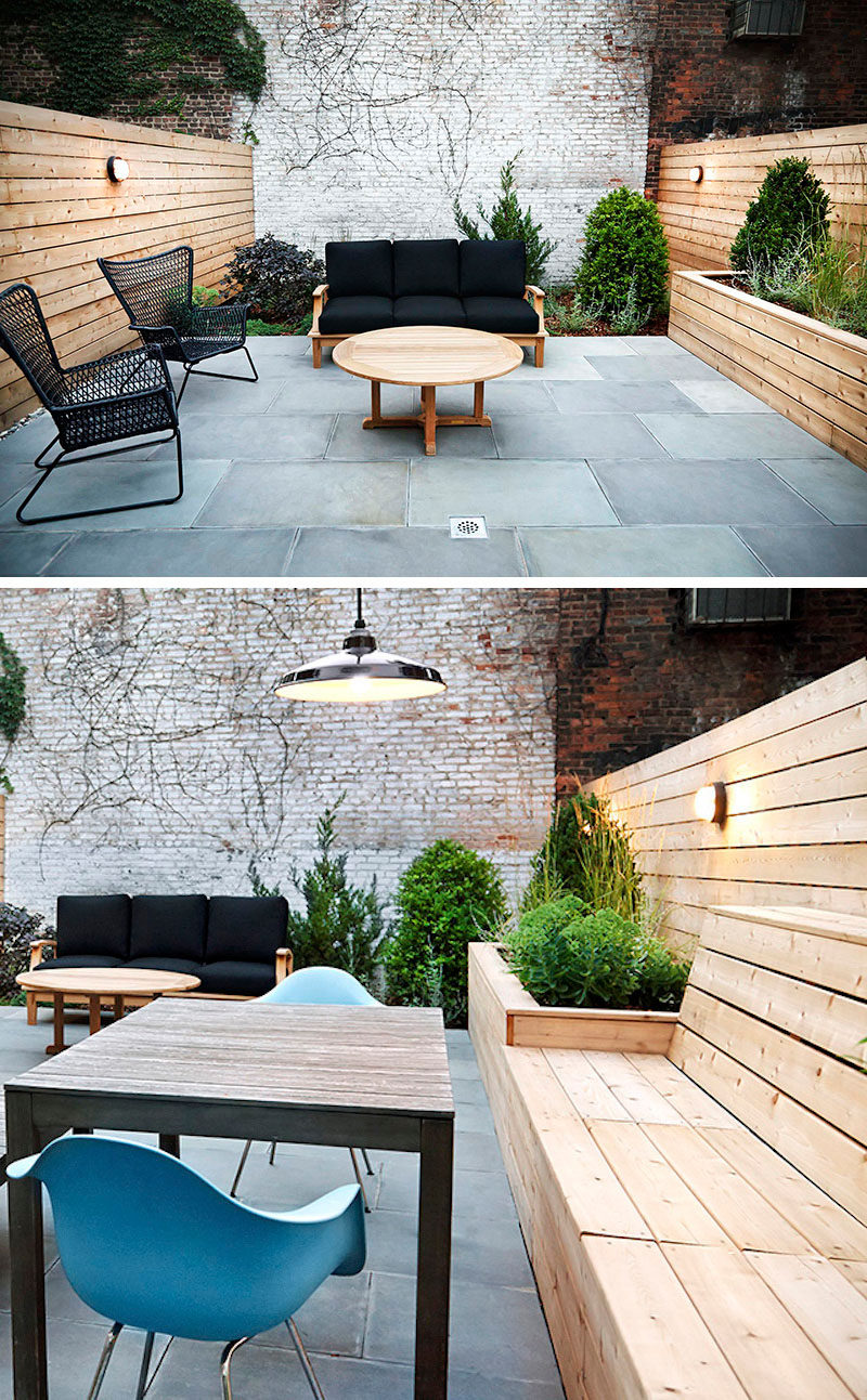 12 Ideas For Including Built-In Wooden Planters In Your Outdoor Space // The light wood planter made from the same wood as the rest of the fence adds dimension to the patio and adds to the natural feel going on in the space. #WoodPlanters #BuiltInPlanters #Landscaping #LandscapeDesign #BackyardPlanters #YardIdeas