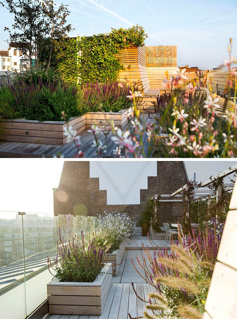 12 Ideas For Including Built-In Wooden Planters In Your Outdoor Space // The wooden planters on this rooftop terrace create a cozy atmosphere and liven up the space with color and texture.