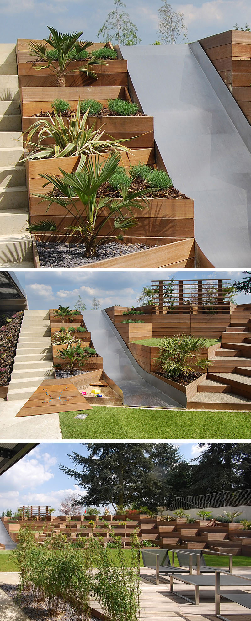 12 Ideas For Including Built-In Wooden Planters In Your Outdoor Space // This backyard with a slide, makes use of triangular wooden planters to deal with the slope of the yard. #WoodPlanters #BuiltInPlanters #Landscaping #LandscapeDesign #BackyardPlanters #YardIdeas