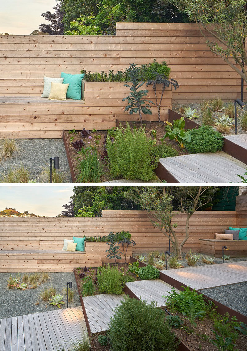 12 Ideas For Including Built-In Wooden Planters In Your Outdoor Space // The fully landscaped backyard has wooden planters incorporated into the built-in bench seating.