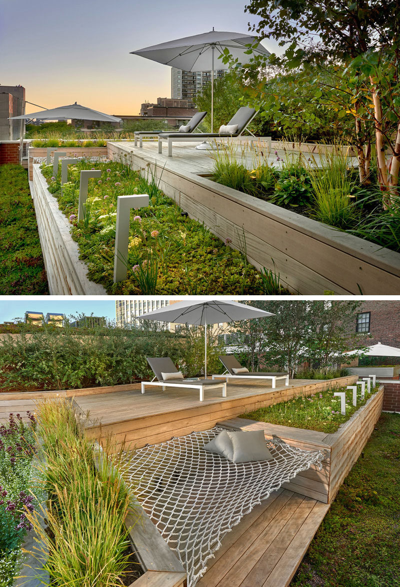 12 Ideas For Including Built-In Wooden Planters In Your Outdoor Space // These planters on a Chicago rooftop deck provide plenty of room for greenery and they separate to provide space for a hammock. #WoodPlanters #BuiltInPlanters #Landscaping #LandscapeDesign #BackyardPlanters #YardIdeas