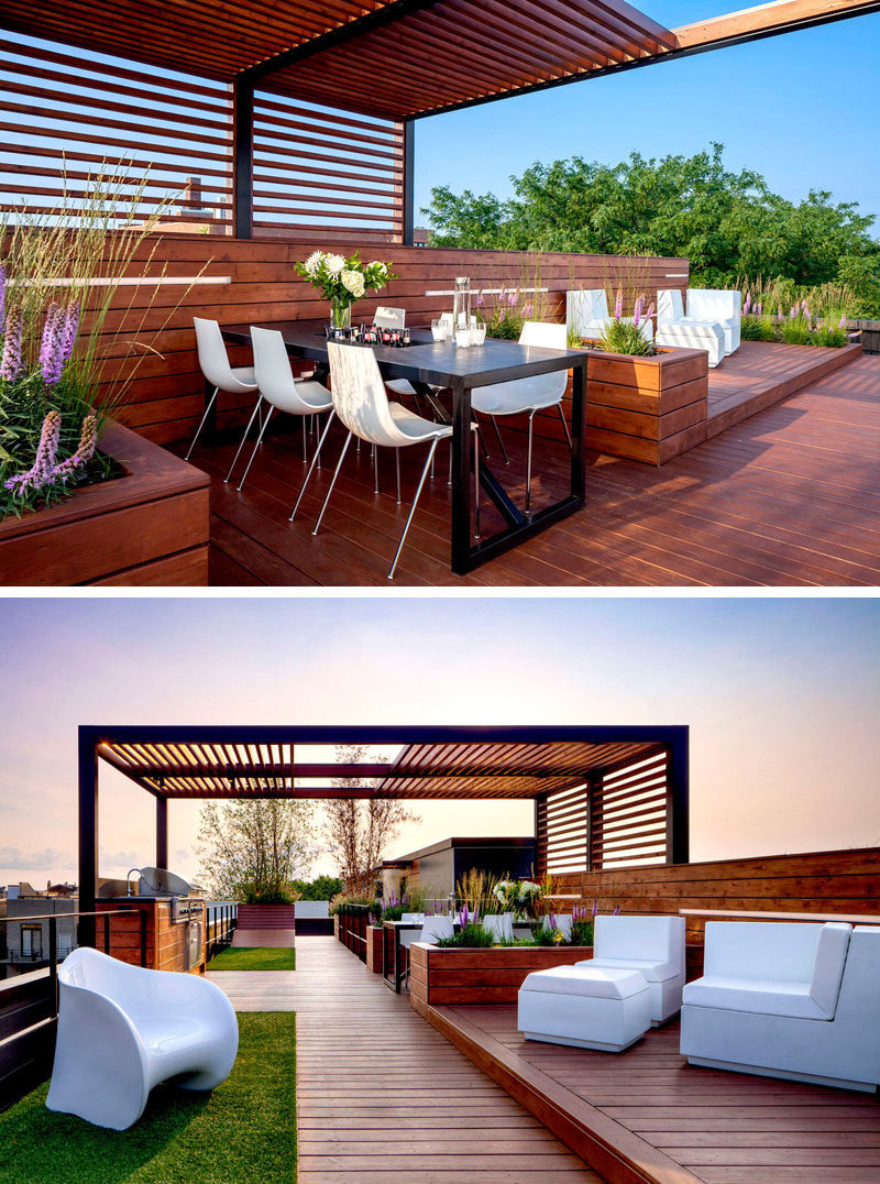 12 Ideas For Including Built-In Wooden Planters In Your Outdoor Space // The built-in wooden planters on this rooftop space, separate the dining area from the lounge area. #WoodPlanters #BuiltInPlanters #Landscaping #LandscapeDesign #BackyardPlanters #YardIdeas