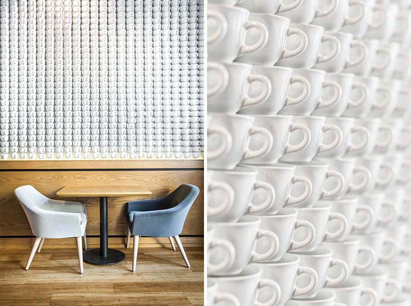 2740 Teacups Were Used To Create A Feature Wall In This Cafe