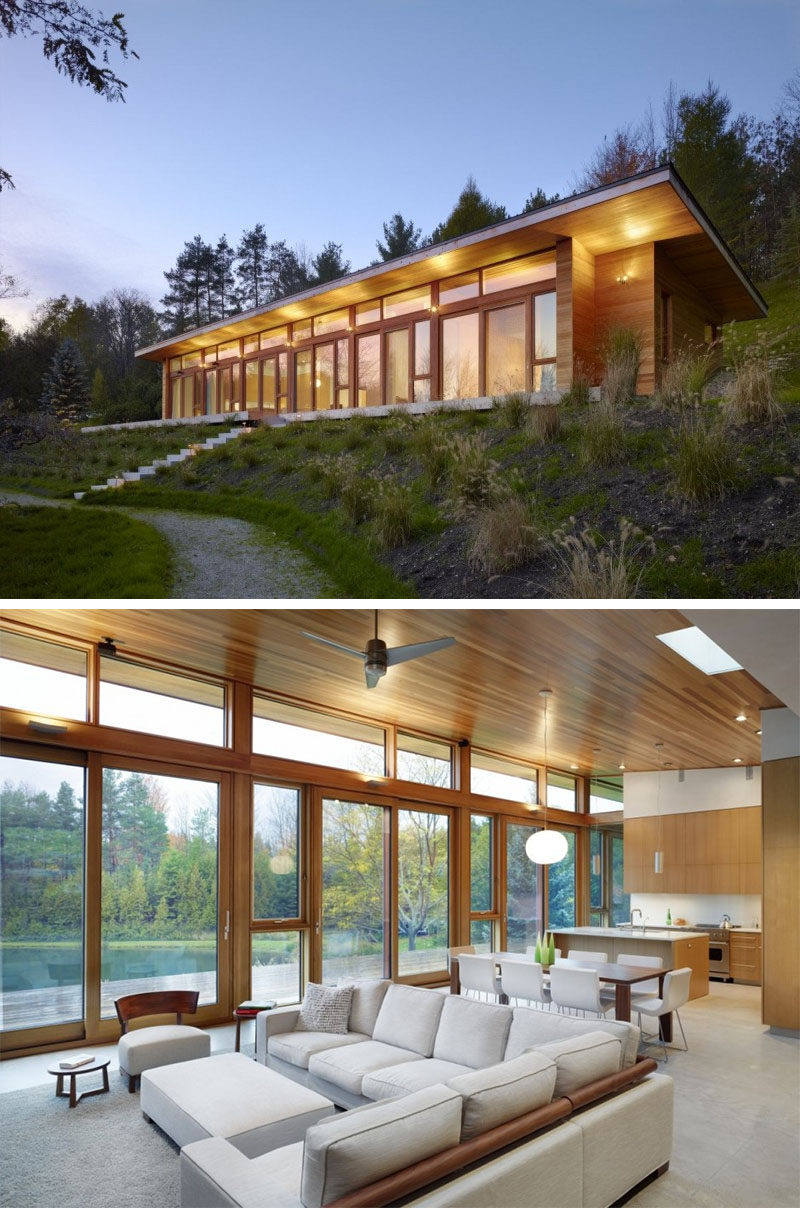 Celebrate Canada Day By Looking At These 10 Incredible Houses In Canada // The +HOUSE, located in Mulmur, Ontario, and designed by Superkül Inc Architect.