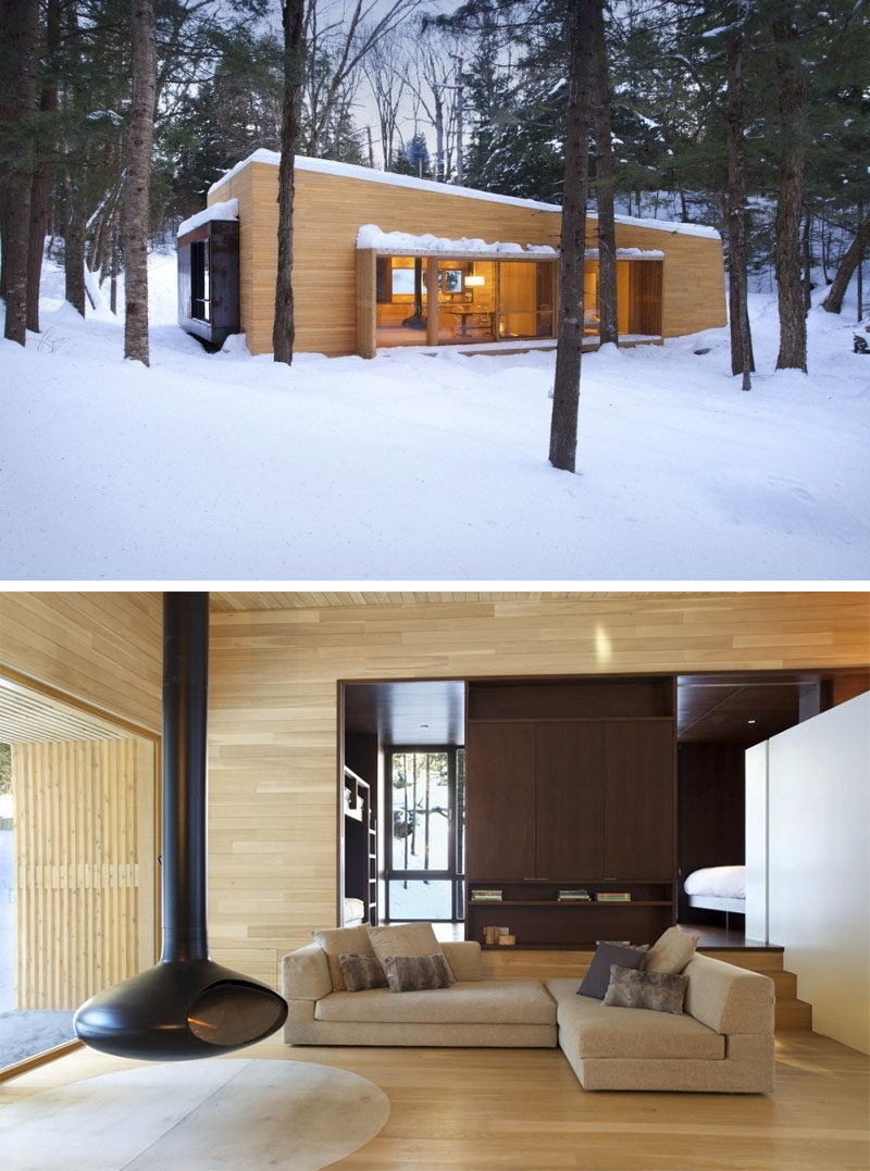 Celebrate Canada Day By Looking At These 10 Incredible Houses In Canada // The La Luge House, a holiday home located in the Laurentides region of Quebec, Canada, designed by YH2 Architects.