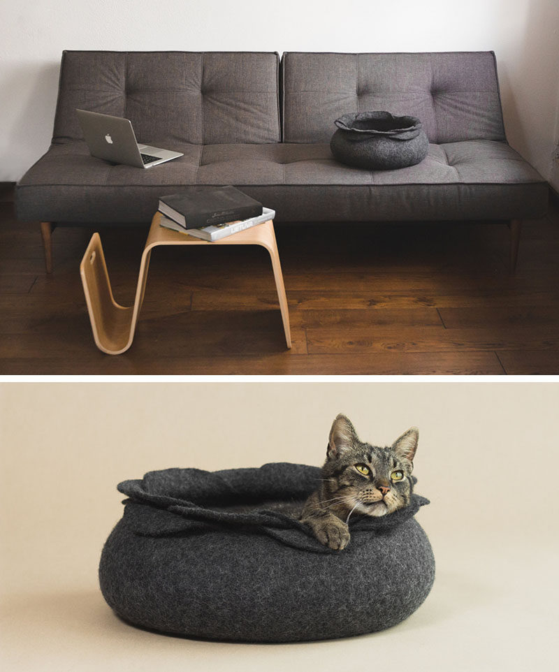 These felted cat beds would blend in perfectly with any modern interior design.