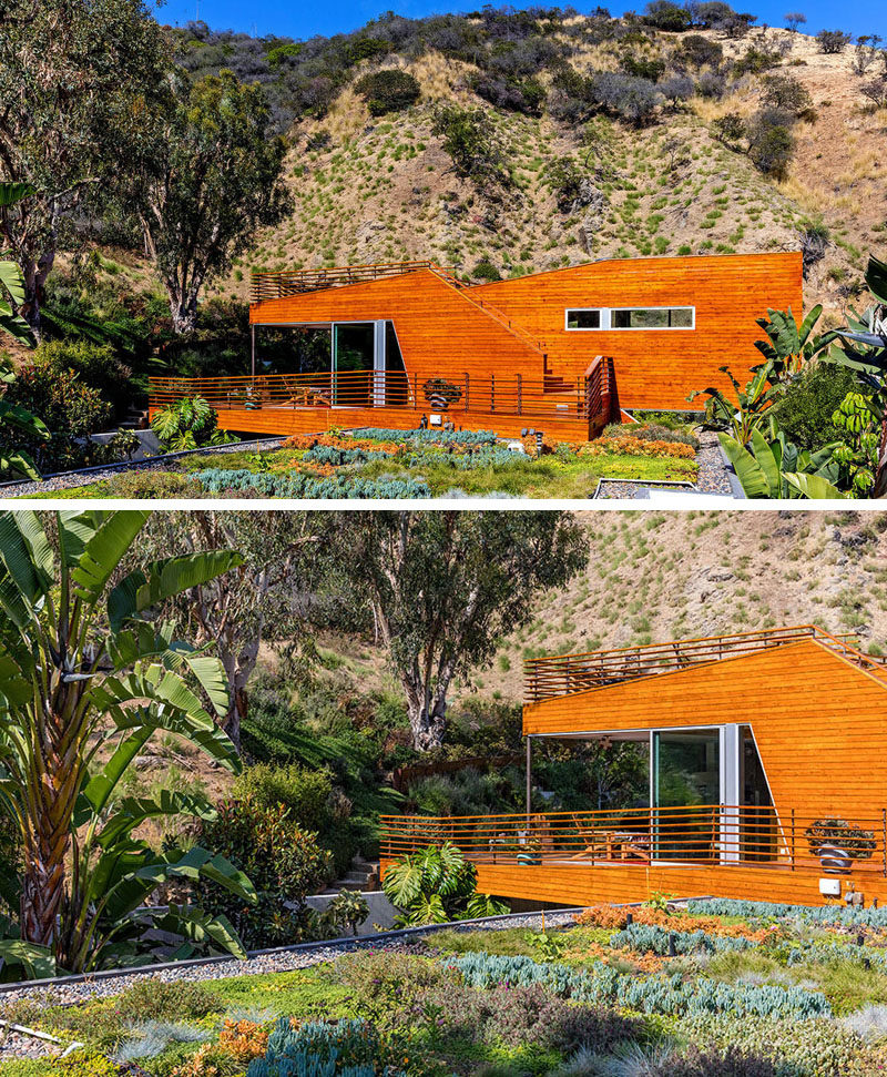 This home in California has a green roof that can be viewed from the second floor balcony.