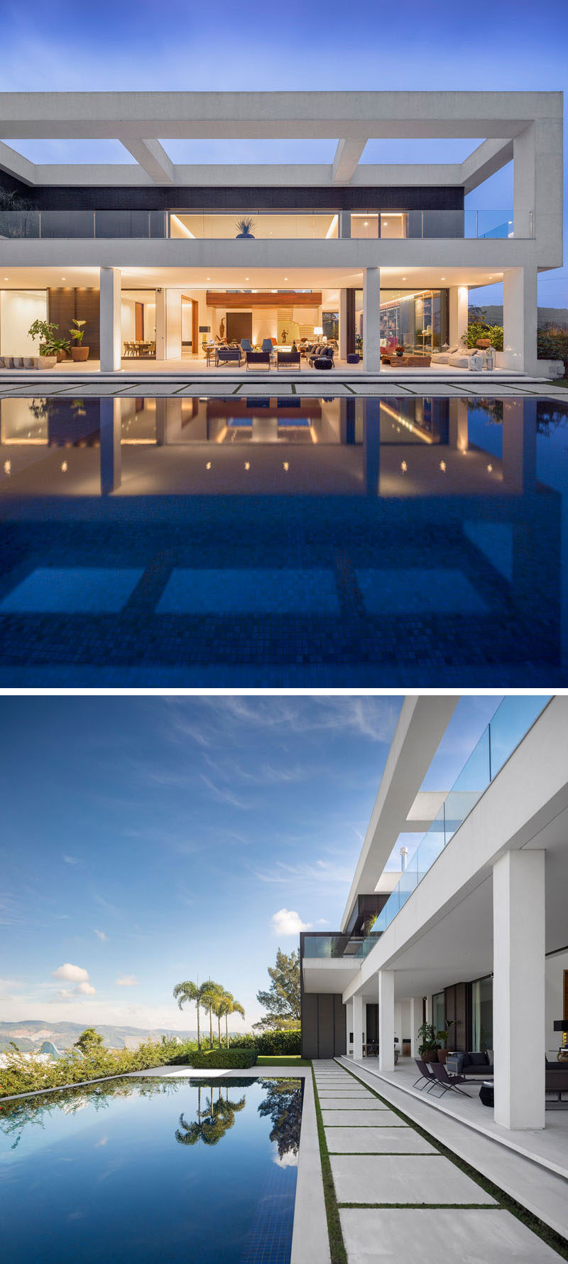 This large swimming pool and outdoor area, makes it easy to relax on a hot day, and entertain at night.