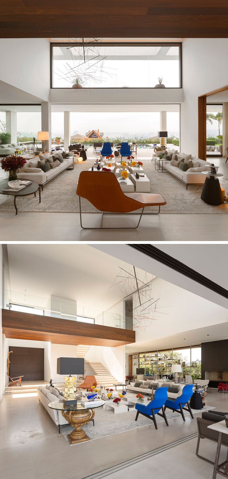 This large living is centered around a coffee table, made from various smaller height tables.