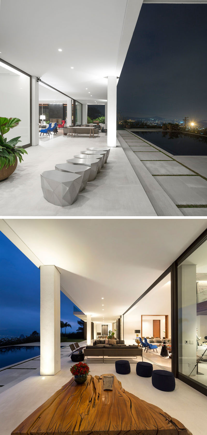 This outdoor living area next to the pool, has been broken up into various sitting areas.