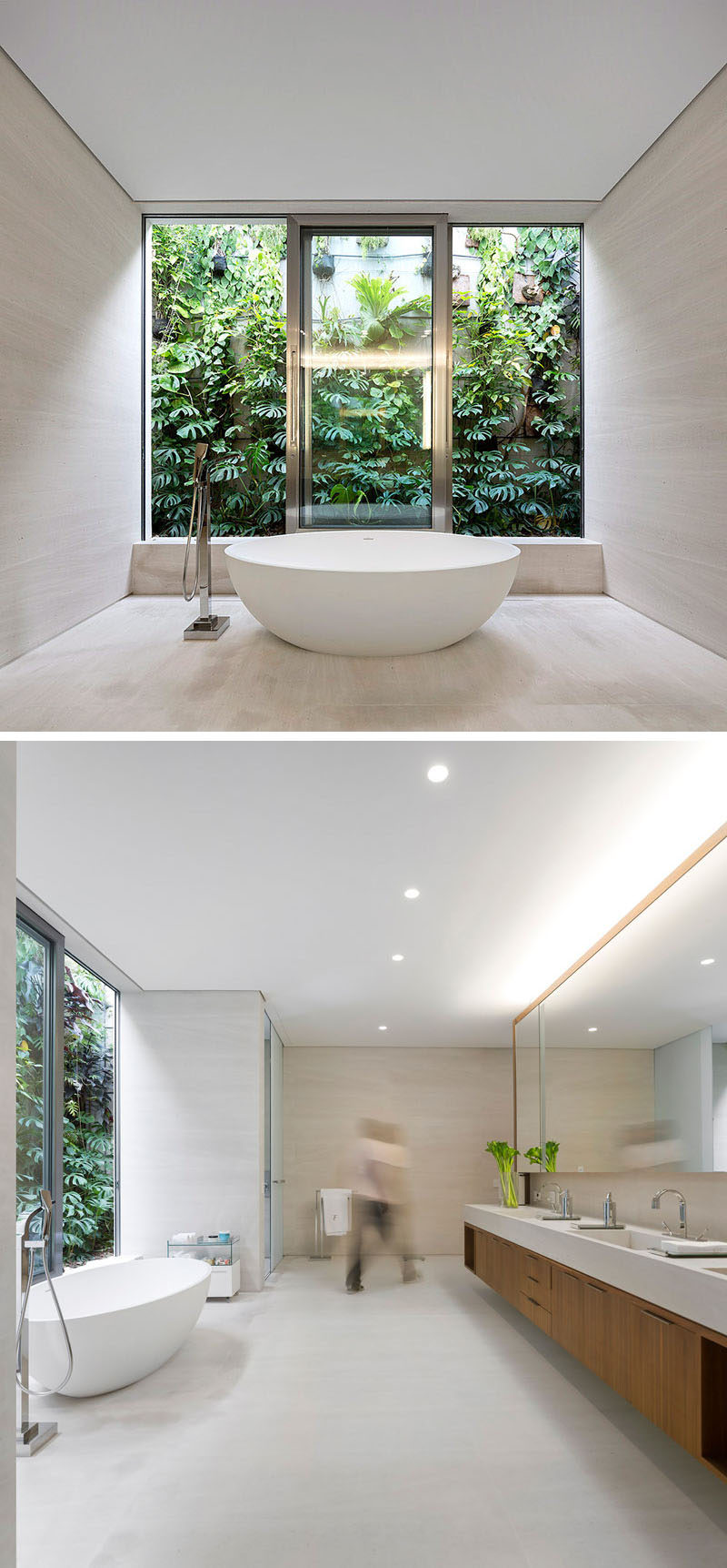 This master bathroom has the bathtub positioned to take advantage of the views of the relaxing garden environment outside.