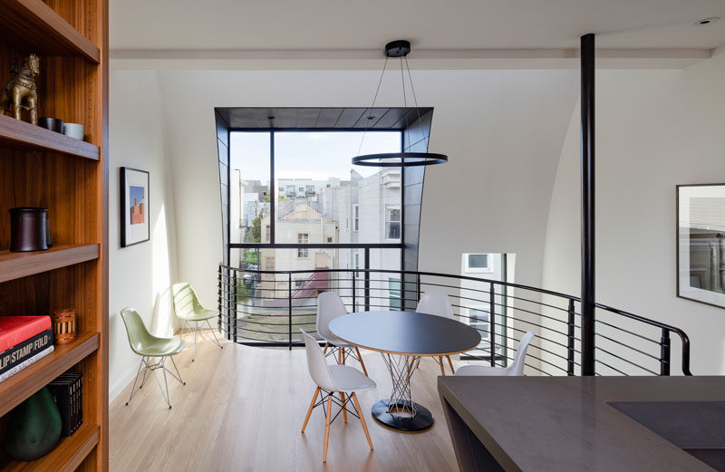 This small dining area overlooks the level below.