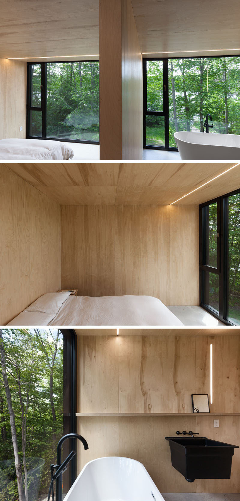 This master bedroom and bathroom both have large windows that let plenty of natural light in, and frame the surrounding forest.