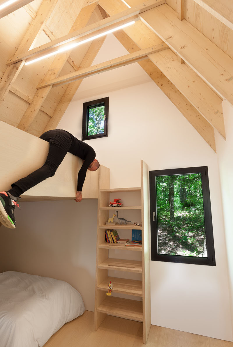 These shelves also double as a ladder to the lofted play space.