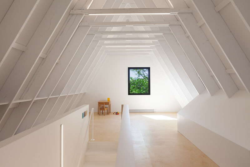 This bright attic has been created as a play area for children.