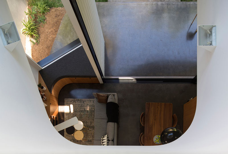 This home has a void that allows you to look down to the floor below.
