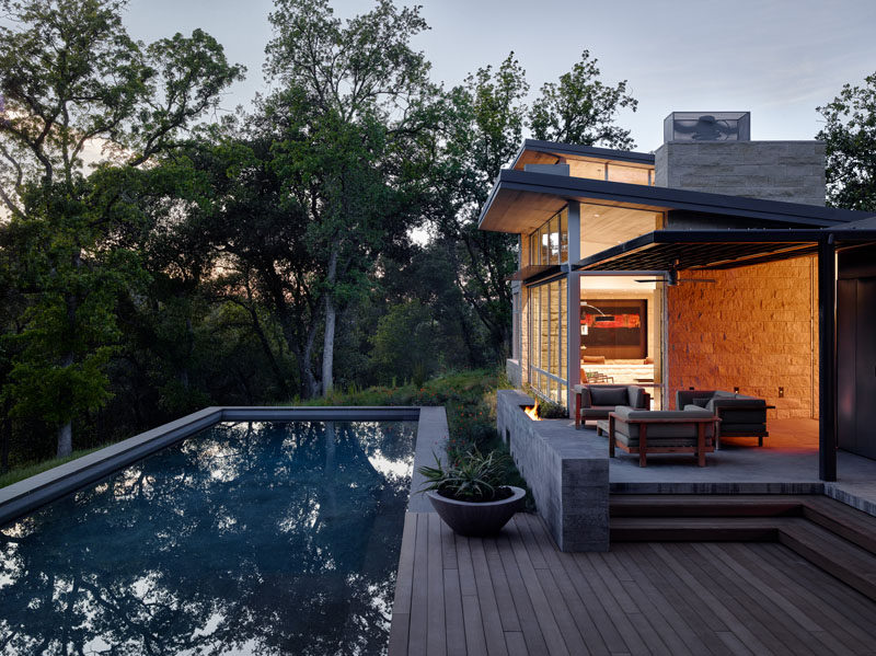 This weekend retreat, designed by Feldman Architecture, features pre-weathered corrugated steel cladding and buff limestone walls, and is located atop a ridge in the Santa Lucia mountains of Carmel, California.
